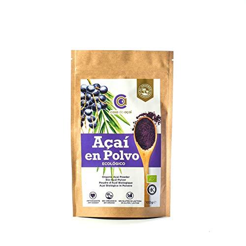 Açaí Ecológico en Polvo, Açaí Berry Organic Powder Biológico Orgánico, Bayas de Acai Organico en Polvo. Hecho con la Pulpa de Açaí, Superalimento de Cultivo Nativo de la Amazonia (100g)