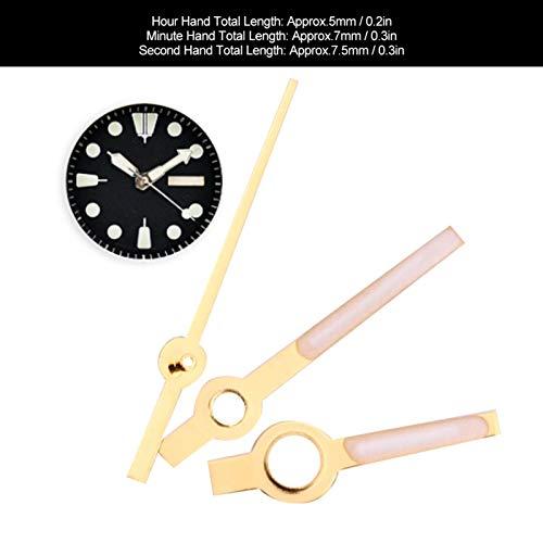 Accesorio de reloj compacto Reloj de aguja Reloj de mano Accesorio de reloj de pulsera, Piezas de reloj para relojeros y trabajadores de reparación de relojes(Golden)