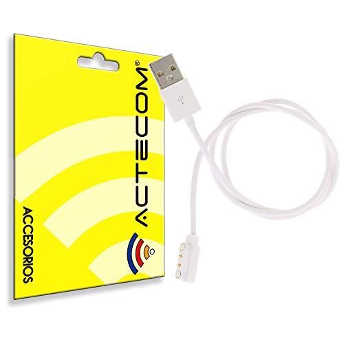 actecom Cable de Carga USB Reloj Inteligente Conector magnético 2 Pines, Distancia Entre Dos Pines: 4 mm