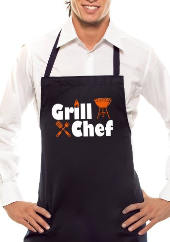 Grill Chef – Bicolore – Tablier de Barbecue Noir/Orange/Blanc