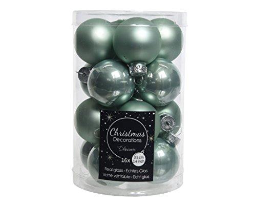 16 kerstballen kerstballen eucalyptus van glas 35 mm diameter