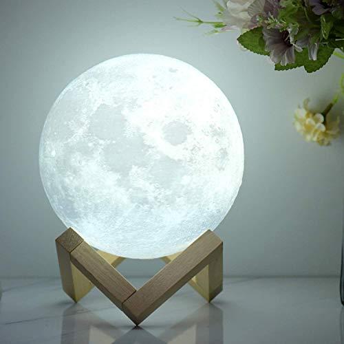 Mondlampe Mondlicht Nachtlicht für Kinder Geschenk für Frauen USB-Aufladung Helligkeit 3D-gedruckte warme und kühle weiße Mondlampe (15 CM)
