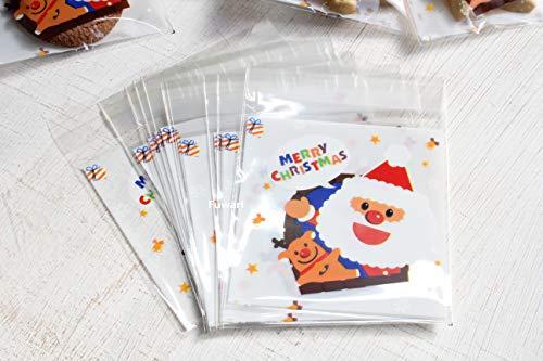 【Fuwari】 クリスマス 袋 小袋 ラッピング お菓子 クッキー チョコレート 100枚 包装袋 小分け プレゼント 用 C (�@)
