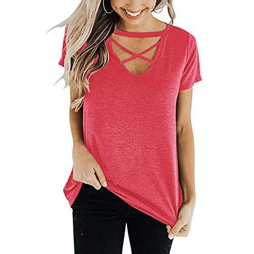 OSYARD Damen Kurzarm Oberteile T-Shirt Blusen Streetwear mit Kreuz Schnürer Rundhals Lose Tunika Sweatshirt Frau Sexy Einfarbig Sommer Crop Tops