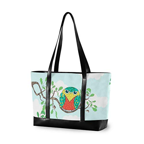 Large Woman Laptop Tote Bag - Funny Cartoon Owls Sitting The Brunches Canvas Shoulder Tote Bag Fit 15.6 Inch Computer Handbag For Work School Hiking Trekking