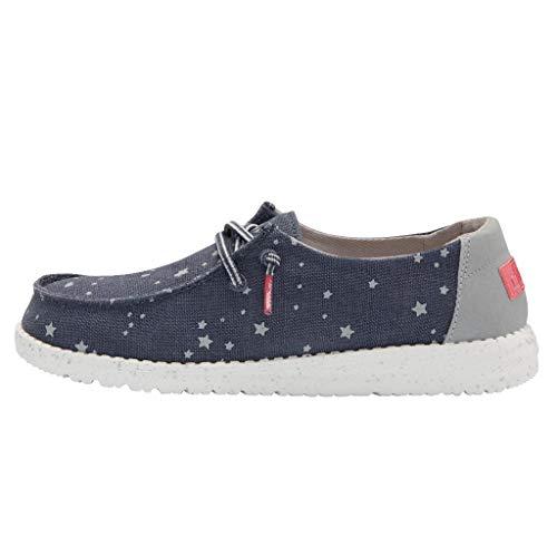 Hey Dude Wendy Mädchen-Schuhe – leichter Komfort – Kinderschuhe – Mokassin-Stil – ergonomische Memory-Schaum-Einlegesohle – entworfen in Italien und Kalifornien, Blau - Cat Eye Navy - Größe: 36 EU