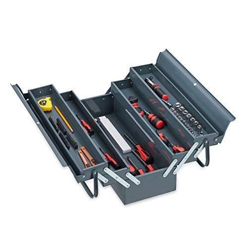 Relaxdays Werkzeugkoffer leer, 5 Fächer, mit Tragegriff, Metall, abschließbar, Werkzeugkasten, HBT 21 x 53 x 20 cm, grau