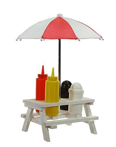 Collection Menage Set Picknicktisch mit Schirm Salzstreuer Pfefferstreuer Senf & Ketchup Ständer Grillzubehör mit Sonnenschirm und Tisch und Bank Gartenparty Gewürz Set