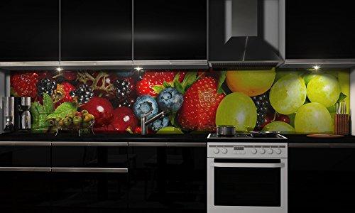 """Küchenrückwand Folie selbstklebend """"Fruchtmix"""" Klebefolie Dekofolie Spritzschutz Küche verschiedene Größen"""