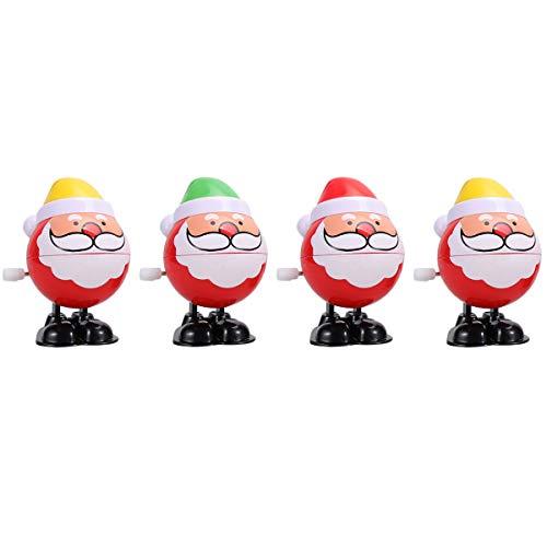 STOBOK 4 x Aufziehspielzeug Aufziehfigur Wind Up Weihnachtsmann Figur Uhrwerk Spielzeug Weihnachten Geschenk für Baby Kinder