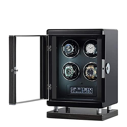Watch Winder per 4 Orologi 6 modalità di Rotazione Silenzioso Motore LCD Touch Display Smart Fingerprint con Telecomando Luce LED Blu con 6 modalità di Rotazione LKWK