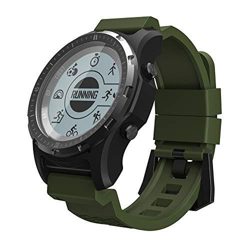 OOLIFENG GPS-Armbanduhr, Fitness-Smartwatch mit eingebautem Herzfrequenzmesser, Barometer, Kompass etc, für Outdoor-Abenteurer, grün