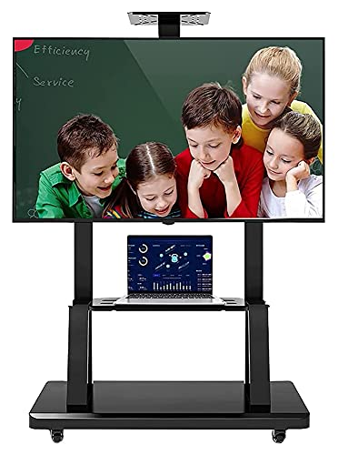 TabloKanvas Soporte de TV con ruedas para TV de 55 pulgadas con almacenamiento (color negro)