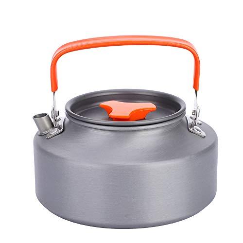 SOONHUA Cafetera de Doble Pared con Aislamiento Al Vacío 1. Tetera de Aluminio de 1 Litro Tetera Tetera para Camping Senderismo Cocina Mango Negro