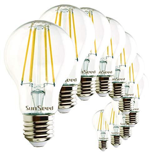 SunSeed 10x Lampadina E27 Filamento LED 7W Goccia A60 850 Lumen Luce Naturale 4000K
