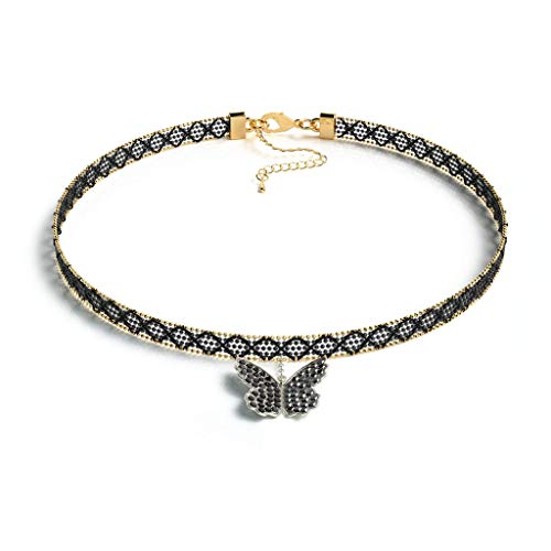 Black Chokers Necklace, DORAFO Lace Collar Choker Necklace Dainty with Butterfly Pendant for Women Girls Teenagers (Butterfly)