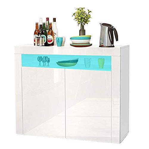 YOLEO Küchenschrank Sideboard mit LED-Leuchte Anrichte matt Hochglanz für Küche Esszimmer Wohnzimmer (weiß, 108 x 92 cm)