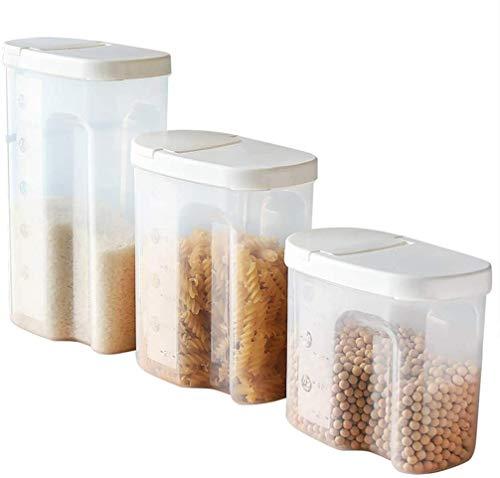 Storage jar Keuken Storage Box Voedsel Container van de Opslag - 3 delige set Huishoudelijke Rice Storage Tank - Plastic Transparant - geen geur - met Schaal Seal/Vocht -Opslag doos keuken
