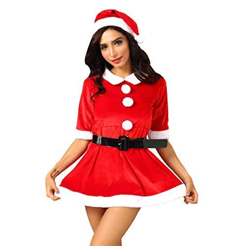 Auifor mode vrouwen leuke kerstkostuum baljurk met riem rode mini-jurk S-3XL