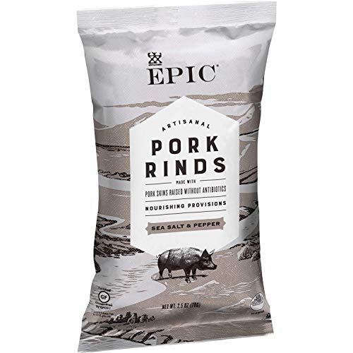 EPIC Sea Salt and Pepper Pork Rinds, Keto Friendly, Paleo Friendly, 2.5 oz