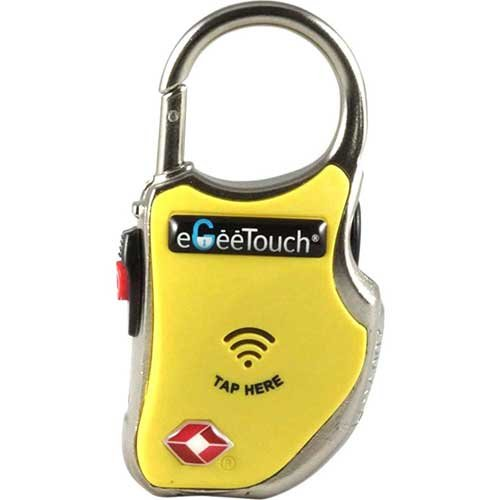 eGeeTouch Smart TSA lock 5-01000-96 with NFC and Bluetooth Access - Vicinity Tracking - Yellow
