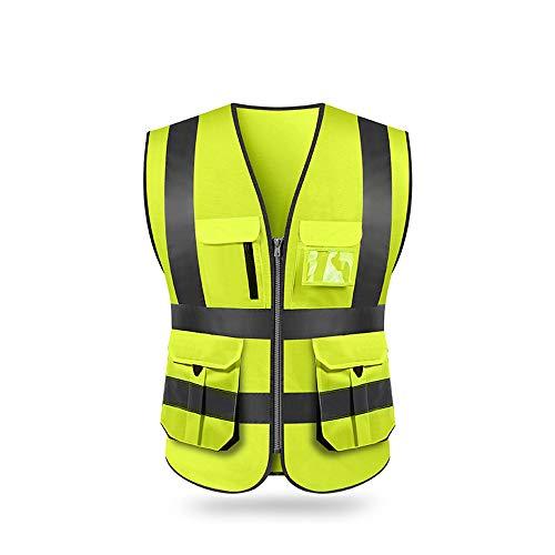 Festnight Gilet di sicurezza riflettente, Alta visibilità Gilet di sicurezza riflettente con tasche e cerniera per lavori all'aperto, ciclismo, jogging, passeggiate, sport - Adatto per uomini e donne