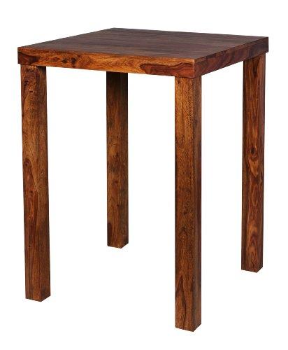 Wohnling Bar Mesa Madera Sheesham 80x 80x 110cm Bistro de mesa moderno rustico estilo de madera de pie de mesa cuadrado de marron oscuro Producto natural maciza de madera de muebles hogar Bar Comedor Real de madera sin tratar