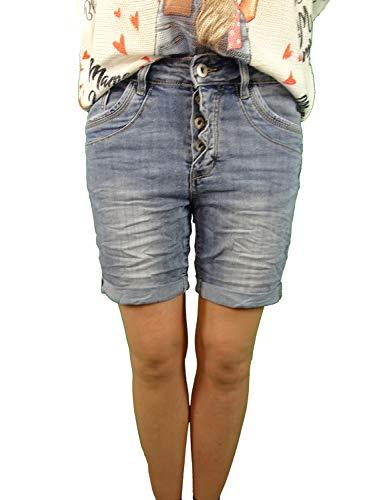Jewelly by Lexxury Damen Denim Shorts | in Used Waschung | Kurze Jeans Hose| mit dekorativer Knopfleitste und Aufschlag | Bermuda für Frauen | Perfekter Sitz mit Stretch Denim M-38