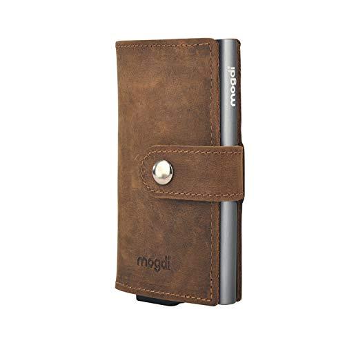 Premium Herren Portmonee RFID Schutz Kartenetui Business Geldbörse feinstes A++ Echtleder mogdi Nano Mini Duo Wallet Geldbeutel (grau, Mini)