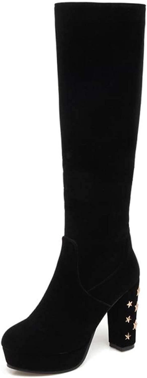 Women Boots, Winter Fur Lined Over Knee Boots Round Head High Heelswaterproof Thick Heel Boots Comfortable Large Size High Boots