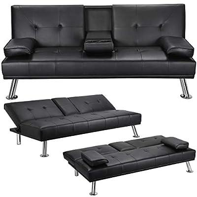 Yaheetech Futon Sofa Bed Modern Faux Leather Sleeper Sofa