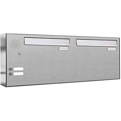 AL Briefkastensysteme 2er Briefkasten für Tür/Zaundurchwurf in V2A Edelstahl mit Klingel, 2 Fach, wetterfeste Premium Doppel-Briefkasten-Anlage modern