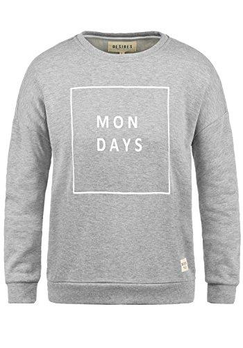 DESIRES Emma Damen Sweatshirt Pullover Sweater Mit Rundhalsausschnitt, Größe:M, Farbe:Light Grey Melange (8242)