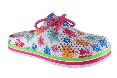 Damen Eva Clogs   Hausschuhe Gartenclogs   Beruf Pantoletten   Freizeit Sauna Badeschuhe   Komfort Massage Fußbett   Slipper Sandalen Schuhe   BA556 (37 EU, Bunt)