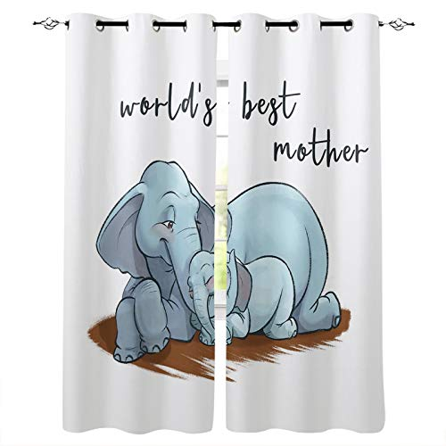 Blackout Curtains for Bedroom, Mother's Day,World's Best Mother, Elephant Mother and Child Thermal Insulated Room Darkening Curtains, Window Curtain for Living Room, 63 Inches Length(Set of 2 Panel)