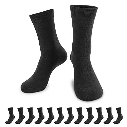 QINCAO Calzini Uomo e Donna Sportivi 12 Paia Calze Lunghe Cotone Sport Calzettoni con Buona Elasticità Alti Socks da Corsa(Nero× 12, 43-46)