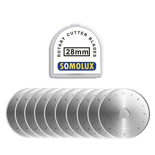 SOMOLUX 28 mm Rollschneider-Klingen, 10 Stück, passend für Olfa, Fiskars etc. Rollschneider-Ersatz, Quilten, Scrapbooking, Nähen, Kunsthandwerk, scharf und langlebig