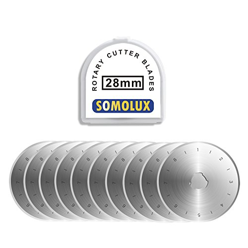 SOMOLUX 28mm Rotary Cutter Blades 10 Pack, Fits OLFA,Fiskars Etc Rotary Cutter Replacement, Quilting Scrapbooking Sewing Arts Crafts,Sharp and Durable