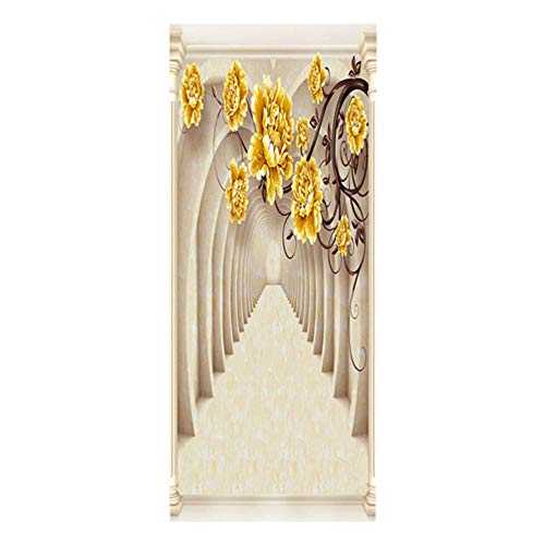 Door Wall Sticker Flower Arch Self-Adhesive 3D Door Stickers Children's Room Waterproof Removable Wallpaper Poster