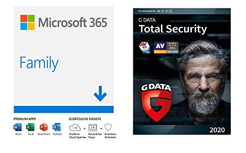 Microsoft 365 Family | 6 Nutzer | PC/Mac, Tablet und mobile Geräte | Download Code + G DATA Total Security 2020 | 5 Geräte - 1 Jahr, Download, Aktivierungscode per Email | PC, Apple Mac, Android, iOS