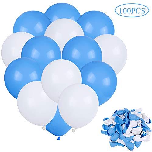 Faburo Palloncini Blu e Bianchi per Party, 100 PCS Palloncini Latex per Matrimoni, Decorazione, Compleanno, Festa di Compleanno, Anniversario e Eventi