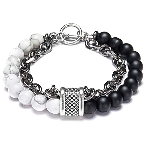 AMOZ Men'S Beads Stainless Steel Stone Necklace Handmade Punk Rock Hip Hop Gothic Cool Biker Gift Jewelry Wristband Italian Byzantine Clasp Classic,X,7 Pulgadas