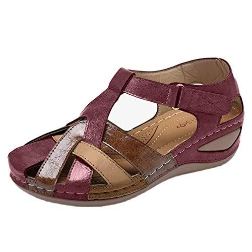 Sandalias Planas para Mujer, Verano 2021, Punta Abierta, Cuero sintético sólido, Zapatos ortopédicos para Mujer, Plataforma Informal, Gladiador de Roma para Mujer de playa
