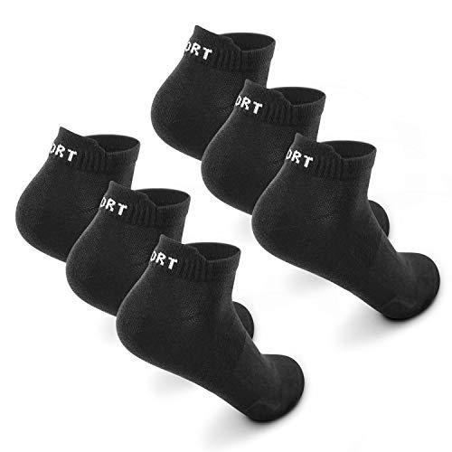 Sneaker Socken Herren Damen 6|12 Paar Kurze Baumwollsocken Sportsocken tennissocken Schwarz Weiß Bunte(Schwarz x6,43-46)