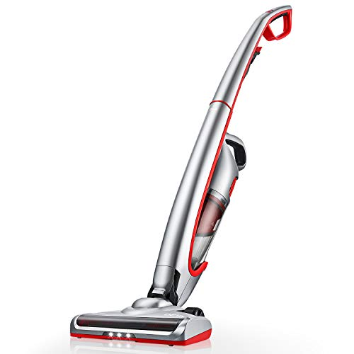 Deik Cordless Vacuum, Stick Vacuum Cleaner with Long Lasting Rechargeable Battery and LED Brush, Lightweight Handheld Vacuum, Silver