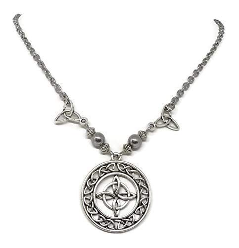 Celtic Witches knot Protection Necklace - Talisman with Triquetras - Wiccan Jewelry - Pagan Necklace with hematite Beads