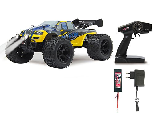 Jamara 053365 - Myron Monstertruck 1:10 BL 4WD Lipo 2,4G LED - Allrad, Brushless , 60 Kmh, Wheelybar, Aluchassis, spritzwasserfest, Öldruckstoßdämpfer, Kugellager, Fahrwerk einstellbar, fahrfertig