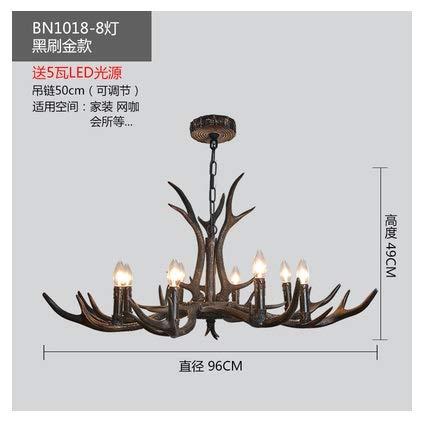 ShiSyan Lámpallas American Country Resina lámpara del Dormitorio de la Cornamenta Comedor Restaurante Loft lámpara del Cuerno Retro araña rústico (Lampshade Color : 1018 8 Light)