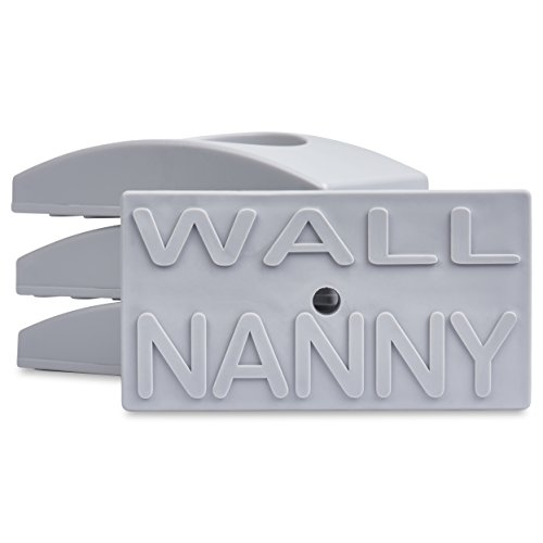 Wall Nanny (4 Pack - Made in USA) Indoor Baby Gate Wall Protector - No Safety Hazard on Bottom Spindles - Small Saver Pad Saves Trim & Paint - Best Dog Pet Child Walk Thru Pressure Gates Guard (Gray)