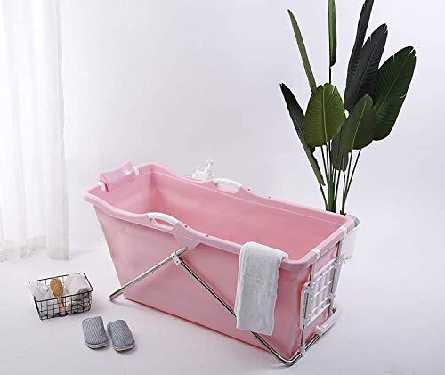 Faltbare Badewanne Erwachsene 128cm mit Seifenkorb, Nackkissen, Hocker. Praktisch und Tragbar Rosa